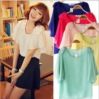 Women chiffon Round 2014 Korea Fashion Woman Summer Chiffon T-Shirts Lady Hot Elegant Lady Chiffon Blouses with 7 Colors S-XXL Sizes Free Shipping ecc1261