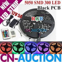 Wholesale M Black PCB RGB SMD LED Strip Waterproof Flexible LED Light LED Strip key Remote Controller V A power supply