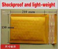 130 * 210 milímetro + 40m m Bolso amarillo del sobre del correo de papel de Kraft Bolso de la burbuja del PE rellenó los sobres Bolsos de empaquetado Suministros del envío Entrega libre de calidad superior