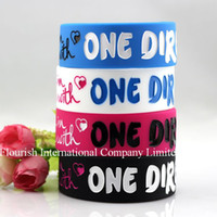 Wholesale pvs Mix colors I Love One Direction wide silicone bracelet stars D MM silicone band SB001