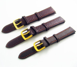 Wholesales 12mm 14mm 16mm 18mm 20mm 22mm Brown Padded Grain Genuine Calf Calfskin Leather Replacement Watch Band Strap Watchband Bracelet