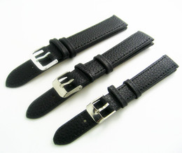 Wholesales 12mm 14mm 16mm 18mm 20mm Black Padded Grain Genuine Calf Calfskin Leather Replacement Watch Band Strap Watchband Bracelet