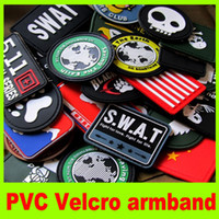 Wholesale PVC armbands SWAT Velcro Outdoor Military PVC Velcro armbands patches chapter jacket magic velcro badge backpack epaulette L