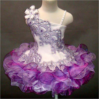 Wholesale Cute Little Girls Pageant Dresses Purple Asymmetrical Neckline Lace Appliques Rhinestone Tiers Purple Organza Girls Cupcake Dresses