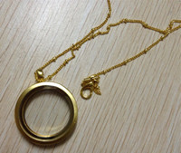 Wholesale 10pcs Gold mm Round Charm Magnetic Smooth Glass Memory Floating Locket Pendant Chain