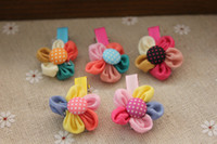 Headbands Child Fabrics [ 6858 ] Korean version of the lovely children's hair accessories flower flowers dots wave point five hairpin hair clip hair 2g