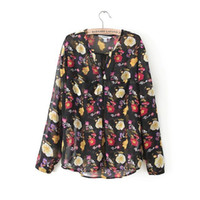 Casual Women Polyester New 2014 Women s Vintage Floral Print Dudalina Hot Blusas Femininas Long Short Flower Black s&Shirts To Brazil