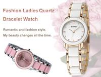 Wholesale Wrist Watch KIMIO Fashion Girls Ladies Female Quartz Bracelet Watch Elegant Design K455L White Black Gold Pink Women Dress Watches H10404