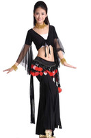 Cheap Fly charm belly dance costume suit dance practice set ( mesh jacket + pants + strawberry tribal waist chain )