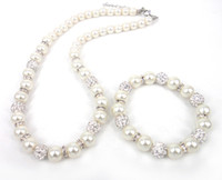 Wholesale New arrival crystal spacers and mm mm crystal glass pearl beads and pave ball necklace bracelet set