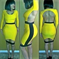 sexy club wear - 2015 new Hollow blackless patchwork bodycon bandage dress sexy club wear jumpsuit women bodysuits LG002