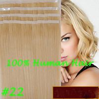 Wholesale quot quot Brazilian Hair Human PU EMY Tape Skin Hair Extensions g amp g set medium blonde DHL FREE