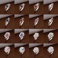 Wholesale Mixed Styles Silver Mark Dazzling CZ Zircon Rings Women s Diamond Rings Mixed