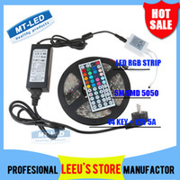 Wholesale DHL RGB M Leds SMD Led Strip light Waterproof lighting Key IR Remote Controller V A Power Supply Pulg