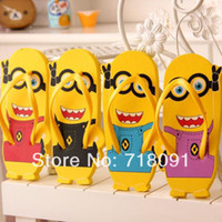 Wholesale Free Size Pair Children Women Sandals Flip Flops With Minions Beach Shoes Drop