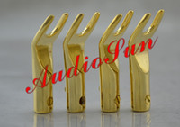 Adapter audio spade - 200 Gold Plated Audio Speaker Cable Spade Connectors
