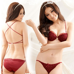 Japanese cute girl lace paper thin section chest rhinestone buckle beauty back cross straps sexy bra sets