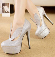 Cheap chic cute bunny girl glitter silver pumps high heel stiletto heel lady prom dress shoes size 40 ePacket free shipping