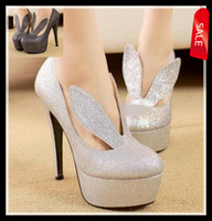 Women Pumps Stiletto Heel 2014 sexy bunny girl glitter silver pumps high heel stiletto heel lady prom dress shoes size 40 ePacket free shipping
