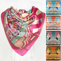Scarves Print Adult 2013 New Arrival Fashion Female Large Square Polyester Silk Scarf Printed,90*90cm Five Colors Satin Scarves For Autumn,Winter