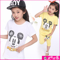 Girl Summer  2014 Summer Pre-Teen Girls Dress Teenager Clothes Cuhk Girls Summer Cartoon Suit