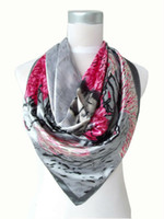 Scarves Yes Print 2013 Women Brand Grey And Brown Polyester Silk Scarf Shawl Printed,90*90cm Fashion Spring And Autumn Satin Large Square Scarves