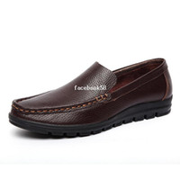 Wholesale handwork handmade Top quality men s genuine leather casual shoes loafers men brand Casual leather Shoes