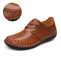 Wholesale Handcrafted genuine leather men shoes brand design men flat men s big size handwork for summer