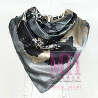 Wholesale 2013 Fashion New Arrival Women Grey Satin Square Silk Scarf cm Hot Sale China Style Polyester Silk Scarf Printed For Autumn