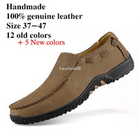 Wholesale Handmade mens casual loafers plus size men Brand genuine leather shoes brand leather moccasins Shoes big size