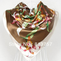 Scarves Yes Print 2013 New Arrival Brand Classic Rayon Silk Scarf Shawl Printed For Women,90*90cm Fashion Beige Satin Large Square Silk Scarves