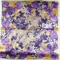 Scarves Yes Print 2013 Fashion Brand Floral Pattern Polyester Silk Scarves Printed,90*90cm Hot Sale Female Satin Purple Large Square Scarf