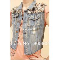 Wholesale Hot Selling Fashion Womens Sequin Bead Chain Denim Sleeveless Waist Jacket Outerwear Jean Vest