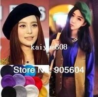 2015 nouvelle mode des femmes Beret 20 Couleurs Vintage laine chaude hiver Beanie Hats Caps vente chaude