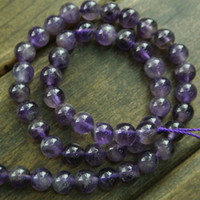 Wholesale Fashion Women Jewelry Making Materials Natural Amethyst Strand Loose Round Beads Semi precious Stone