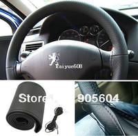 Wholesale High quality DIY Black Leather Car Steering Wheel Cover With Needles amp Thread Hand Sewing Wheel Covers