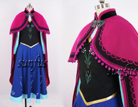 Wholesale 2014 New Movie Frozen Snow Queen ANNA Dress Cosplay costume Adult Children