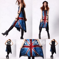 Wholesale Fashion Design UK British Union Jack Flag Casual Women s Tank Tops Jumper Dress Shirt HipHop Punk Rock N Roll for Ladies Girls