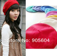 Wholesale 100 Wool Warm Women Felt French Beret Beanie Hat Cap Tam Hot colors
