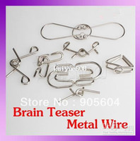 Wholesale 7 mixed up IQ Test Toys Brain Teaser Metal Wire Mind Game Puzzles Magic Trick
