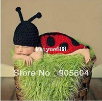 Unisex Spring / Autumn Baby Cute Baby Photo Clothing Toddler Kids Infant Ladybug Costume Newborn Photography Props Knit Crochet Animal Dresses For Sale