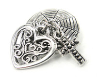 Wholesale new arrival heart and cross chunks bracelet Fashion metal chunk snap button Bracelet
