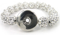 Wholesale New arrival white shamballa pave ball crystal ball Metal Chunks Snap Button Disco Ball Bracelet