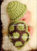 Wholesale Hot selling Lovely Baby Infant Tortoise Newborn Turtle Costume Photo Photography Prop Knit Crochet Clothes Beanie Hat Outfit