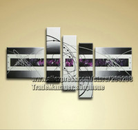 Cheap Framed 5 Panels Black and White Canvas Art 5 Panel Wall Decor Modern Home Decoration S0016