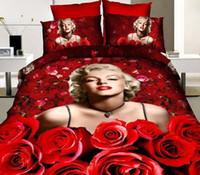 100% Cotton Home Cartoon 3d cotton Marilyn Monroe bedding set for men full\queen 500TC duvet\quilt\comforter cover flat sheet pillow 4pcs