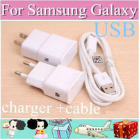 Wholesale 100pcs OEM For Samsung Galaxy S4 i9500 S2 S3 Note Home EU US Wall Charger Adapter Micro Usb Data Cable with retail box AA