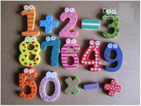 Wholesale Hot sale Children s creative gifts toys wooden magnetic stickers digital wood Fridge magnets