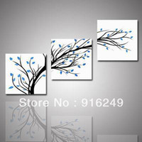 Cheap 3 Piece Wall Art Modern Abstract Large Cheap Floral Black And White and Blue Tree of Fife Print On Canvas home decor-unframed