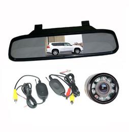 "2.4G Wireless Reversing Camera 9 LED IR Night Vision + 4.3"" LCD Mirror Monitor Car Rear View Kit"